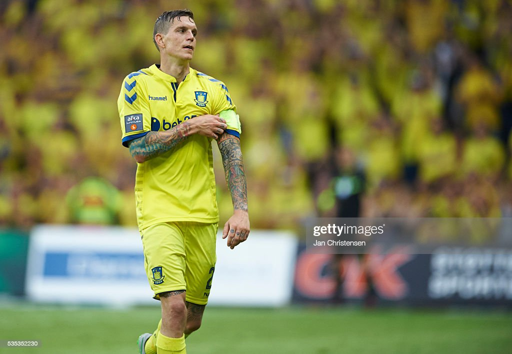 <a gi-track='captionPersonalityLinkClicked' href=/galleries/search?phrase=Daniel+Agger&family=editorial&specificpeople=605441 ng-click='$event.stopPropagation()'>Daniel Agger</a> of Brondby IF leaving the pitch during the Danish Alka Superliga match between Brondby IF and SonderjyskE at Brondby Stadion on May 29, 2016 in Brondby, Denmark.