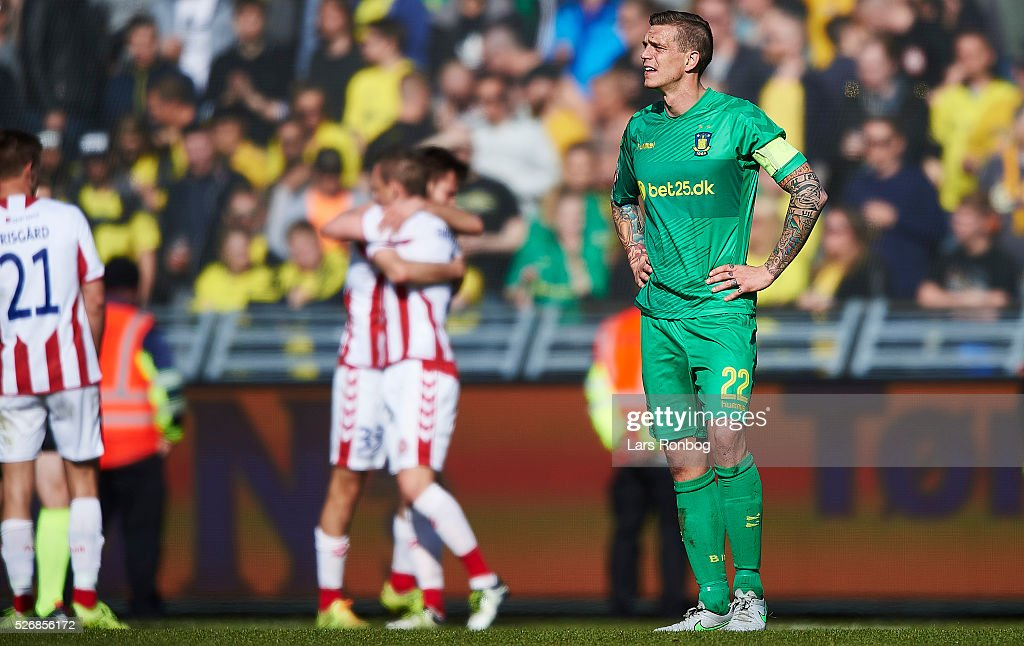 Daniel Agger of Brondby IF looks dejected during the Danish Alka Superliga match between AaB Aalborg and Brondby IF at Nordjyske Arena on May 1, 2016 in Aalborg, Denmark.