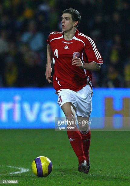 Daniel Agger of Denmark in action during the International Friendly match between Australia and Denmark at Loftus Road on February 6 2007 in London...
