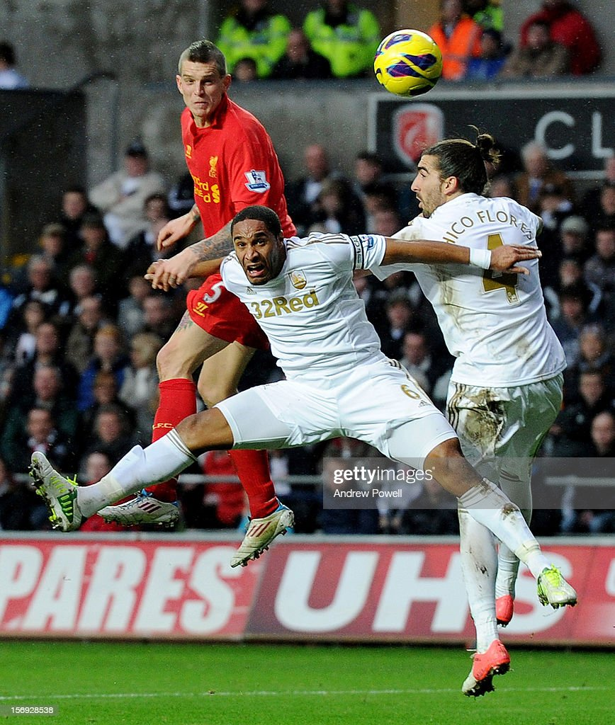 Daniel Agger of Liverpool comes close to scoring during the Barclays Premier League match between Swansea City and Liverpool at Liberty Stadium on November 25, 2012 in Swansea, Wales.