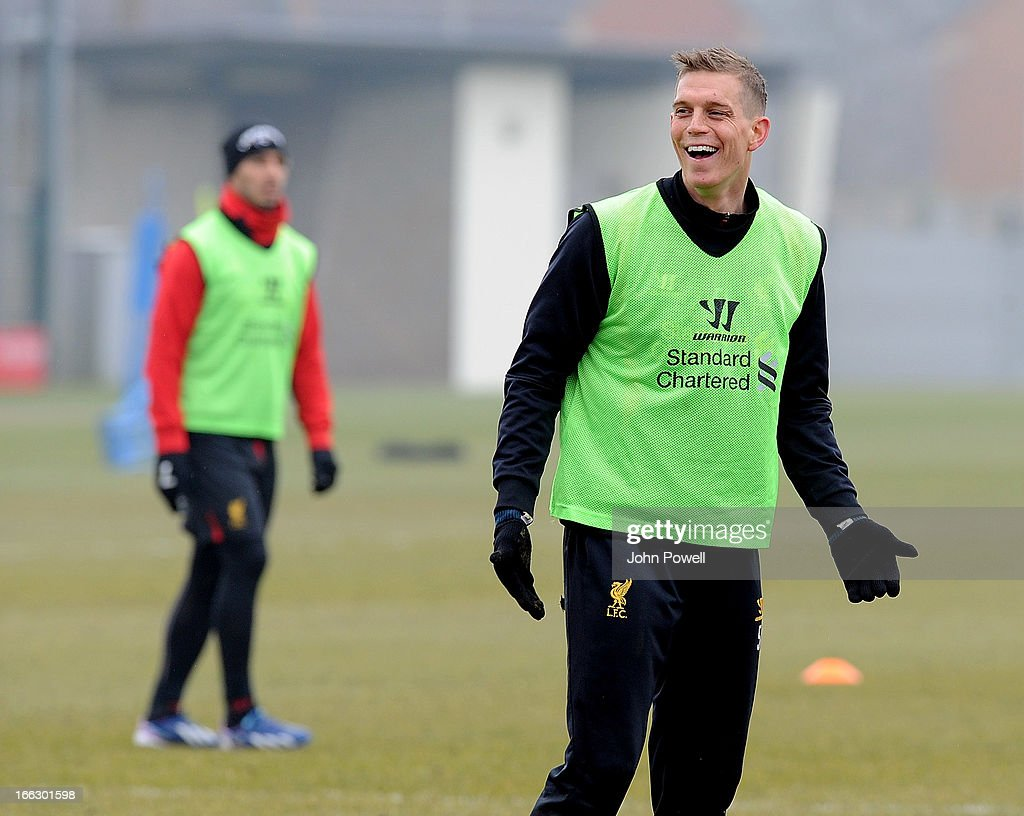 Daniel Agger of Liverpool in action during a training session at Melwood Training Ground on April 11, 2013 in Liverpool, England.