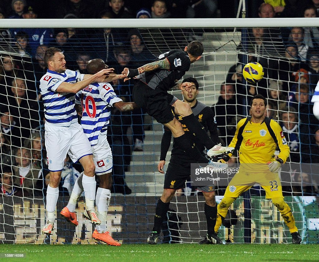 Daniel Agger of Liverpool scores the third goal during the Barclays Premier League match between Queens Park Rangers and Liverpool at Loftus Road on December 30, 2012 in London, England.