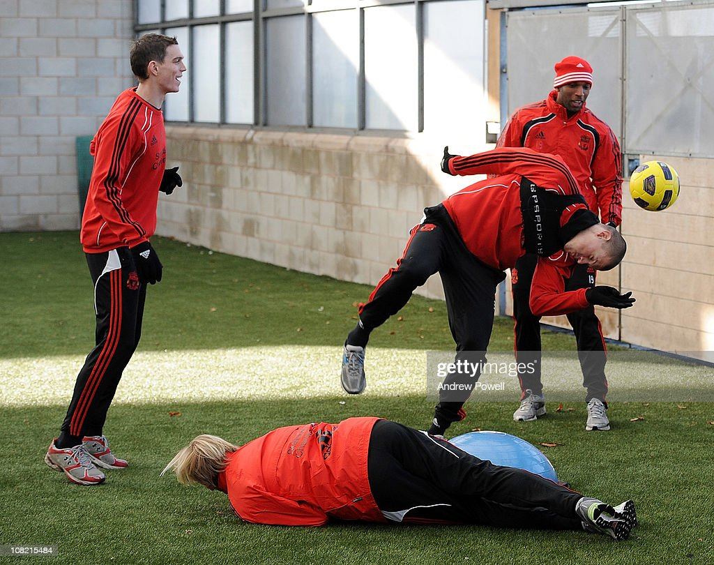 Daniel Agger Ryan Babel and Martin Skrtel of Liverpool attend a training session at Melwood Training Ground on January 21 2011 in Liverpool England