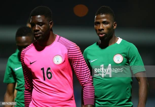 LR Daniel Akpeyi and Kelechi Iheanacho of Nigeria during International Friendly match between Nigeria against Senegal at The Hive Barnet FC on 23rd...