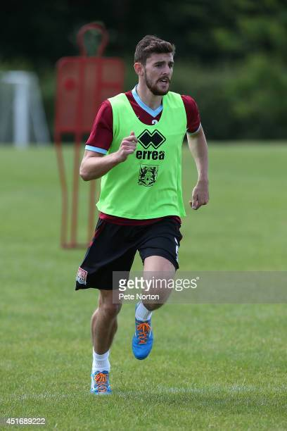 Daniel Alfei of Northampton Town in action during a training session at Moulton College on July 4 2014 in Northampton United Kingdom