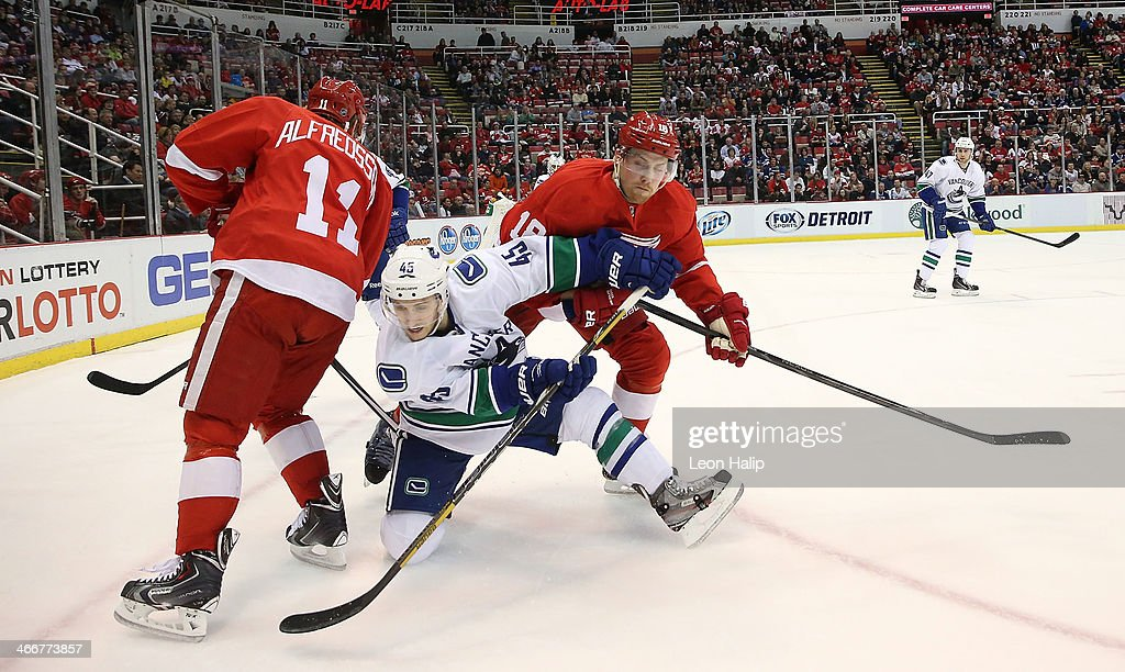<a gi-track='captionPersonalityLinkClicked' href=/galleries/search?phrase=Daniel+Alfredsson&family=editorial&specificpeople=201853 ng-click='$event.stopPropagation()'>Daniel Alfredsson</a> #11 and Joakim Andersson #18 of the Detroit Red Wings battle for puck control with <a gi-track='captionPersonalityLinkClicked' href=/galleries/search?phrase=Jordan+Schroeder&family=editorial&specificpeople=4450940 ng-click='$event.stopPropagation()'>Jordan Schroeder</a> #45 Vancouver Canucks during the first period of the game at Joe Louis Arena on February 3, 2014 in Detroit, Michigan. The Red Wings defeated the Canucks 2-0.