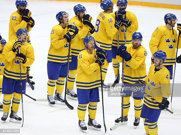 Daniel Alfredsson Daniel Sedin and teammates of Sweden react after losing the Men's Ice Hockey Gold Medal match between Canada and Sweden on Day 16...