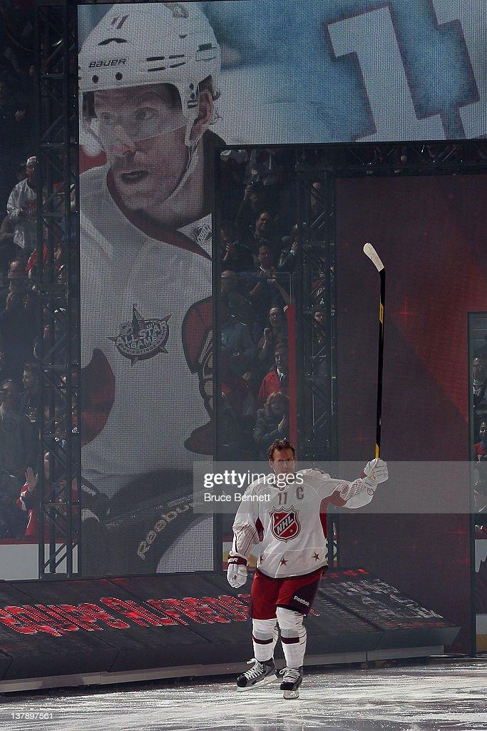 Daniel Alfredsson of the Ottawa Senators and Team Alfredsson skates on the ice prior to the 2012 Tim Hortons NHL AllStar Game against Team Chara at...