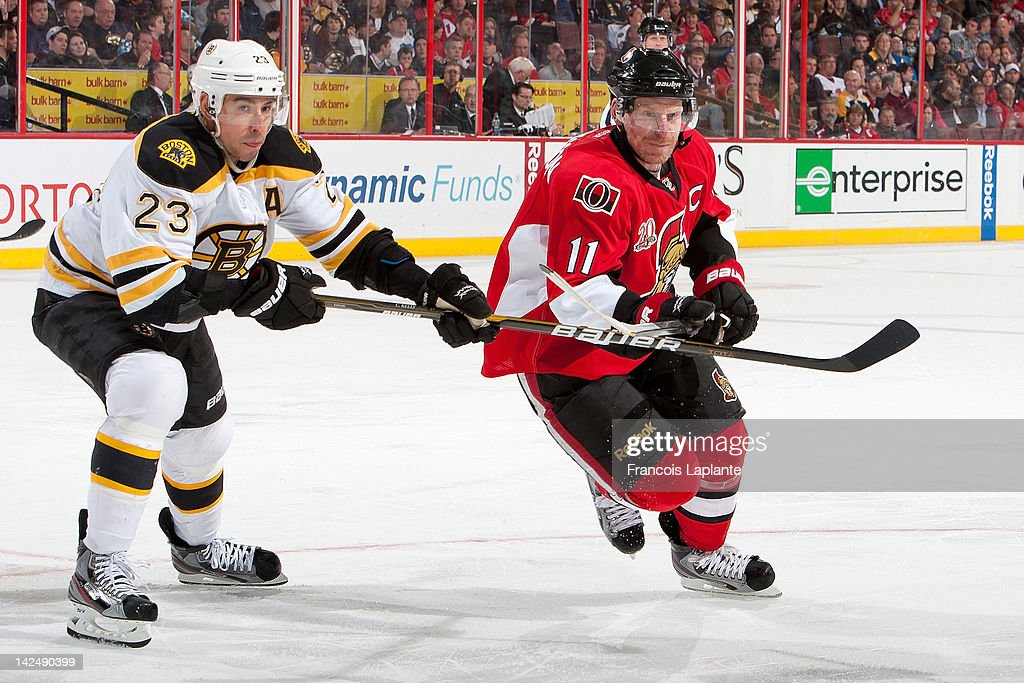 <a gi-track='captionPersonalityLinkClicked' href=/galleries/search?phrase=Daniel+Alfredsson&family=editorial&specificpeople=201853 ng-click='$event.stopPropagation()'>Daniel Alfredsson</a> #11 of the Ottawa Senators battles for position against Chris Kelly #23 of the Boston Bruins at Scotiabank Place on April 5, 2012 in Ottawa, Ontario, Canada.