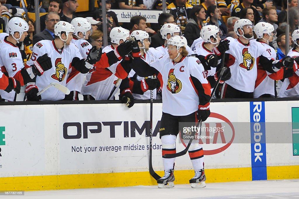 Daniel Alfredsson #11 of the Ottawa Senators celebrates a goal against the Boston Bruins at the TD Garden on April 28, 2013 in Boston, Massachusetts.