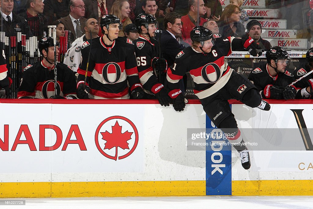 <a gi-track='captionPersonalityLinkClicked' href=/galleries/search?phrase=Daniel+Alfredsson&family=editorial&specificpeople=201853 ng-click='$event.stopPropagation()'>Daniel Alfredsson</a> #11 of the Ottawa Senators jumps over the boards during play against the Winnipeg Jets during an NHL game at Scotiabank Place on February 9, 2013 in Ottawa, Ontario, Canada.
