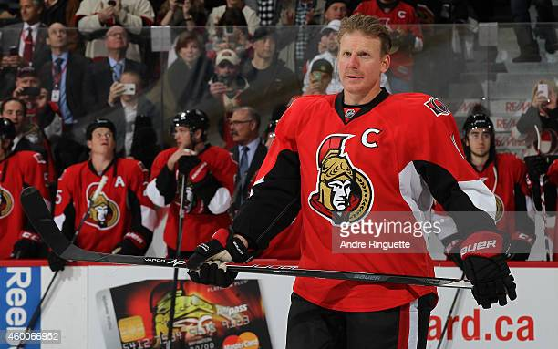 Daniel Alfredsson of the Ottawa Senators looks on during his retirement ceremony prior to a game against the New York Islanders at Canadian Tire...