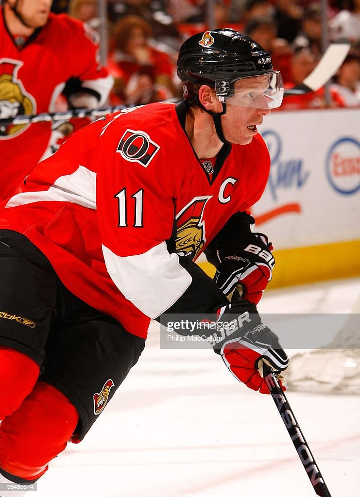 Daniel Alfredsson of the Ottawa Senators skates against the Buffalo Sabres during their NHL game at Scotiabank Place on April 10 2010 in Ottawa...