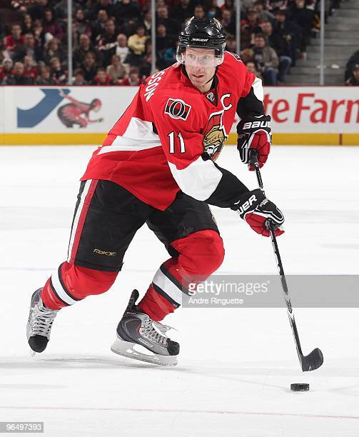 Daniel Alfredsson of the Ottawa Senators skates against the Montreal Canadiens at Scotiabank Place on January 30 2010 in Ottawa Ontario Canada