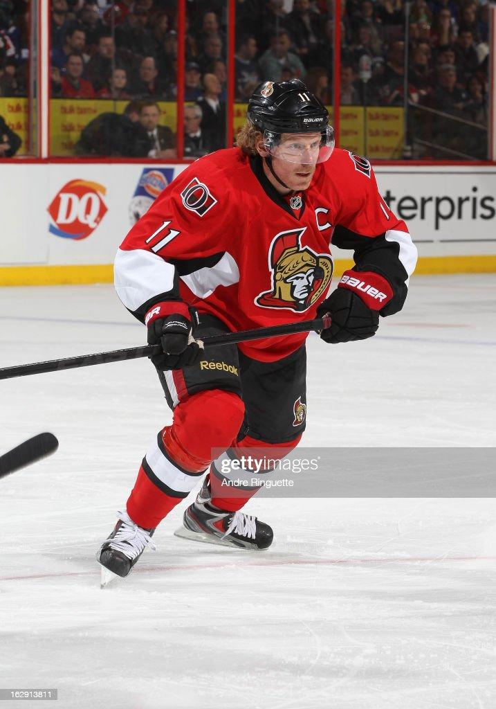 Daniel Alfredsson #11 of the Ottawa Senators skates against the Toronto Maple Leafs on February 23, 2013 at Scotiabank Place in Ottawa, Ontario, Canada.