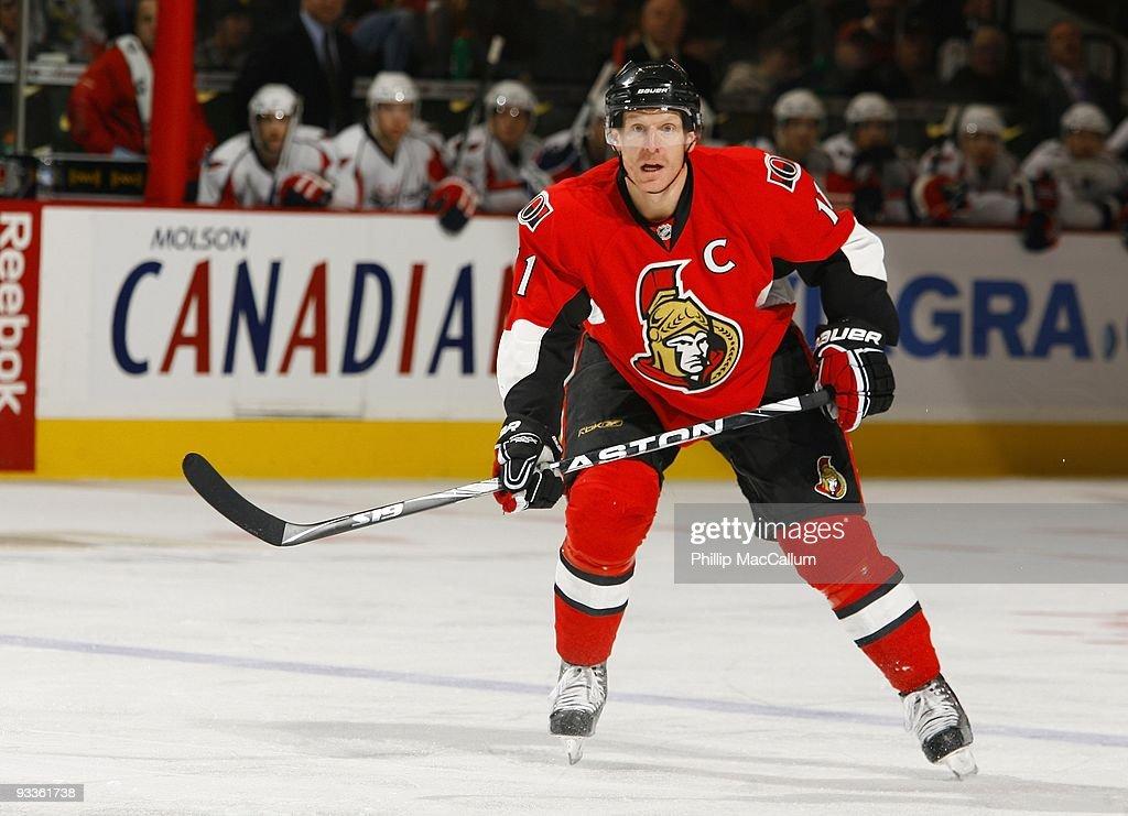 Daniel Alfredsson of the Ottawa Senators skates in a game against the Washington Capitals at Scotiabank Place on November 23 2009 in Ottawa Ontario...