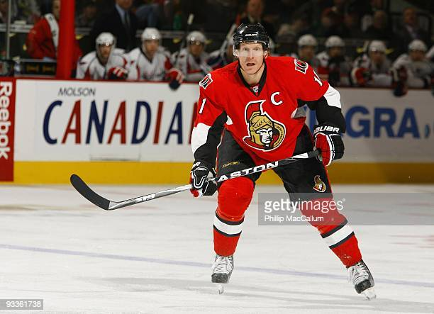 Daniel Alfredsson of the Ottawa Senators skates in a game against the Washington Capitals at Scotiabank Place on November 23 2009 in Ottawa Ontario...