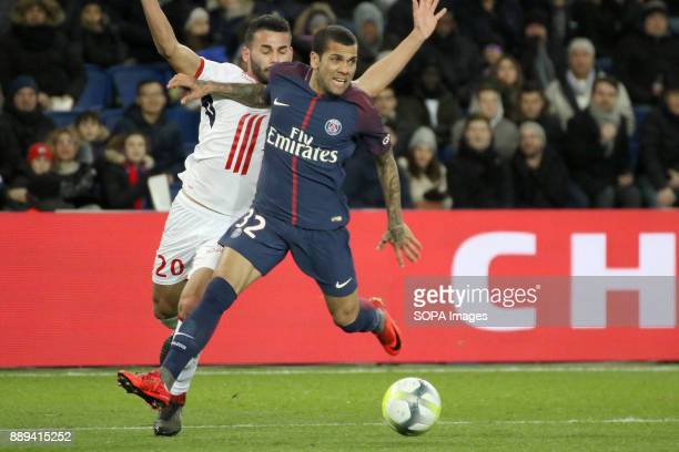 Daniel Alves and Thiago Maia in action during the French Ligue 1 soccer match between Paris Saint Germain and Lille at Parc des Princes
