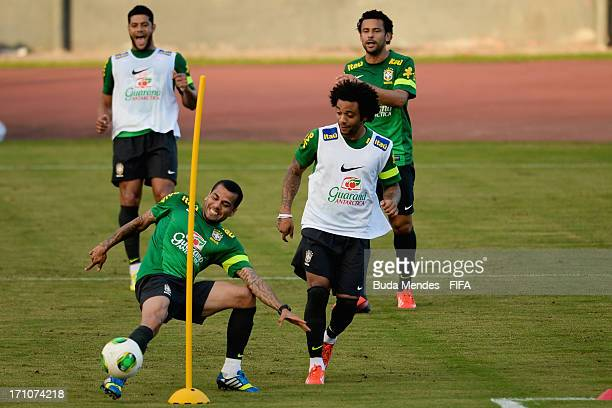 Daniel Alves Hulk Marcelo and Fred practice during a Brazil training session ahead of their FIFA Confederations Cup 2013 match against Italy at...