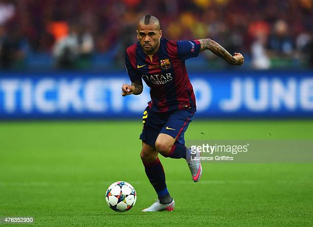 Daniel Alves of Barcelona in action during the UEFA Champions League Final between Juventus and FC Barcelona at Olympiastadion on June 6 2015 in...