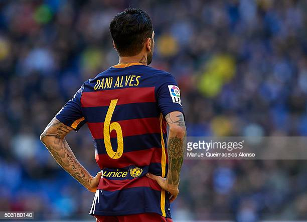Daniel Alves of Barcelona is seen during the La Liga match between Real CD Espanyol and FC Barcelona at CornellaEl Prat Stadium on January 2 2016 in...