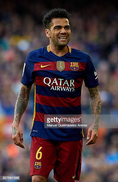 Daniel Alves of Barcelona reacts during the La Liga match between FC Barcelona and Atletico de Madrid at Camp Nou on January 30 2016 in Barcelona...