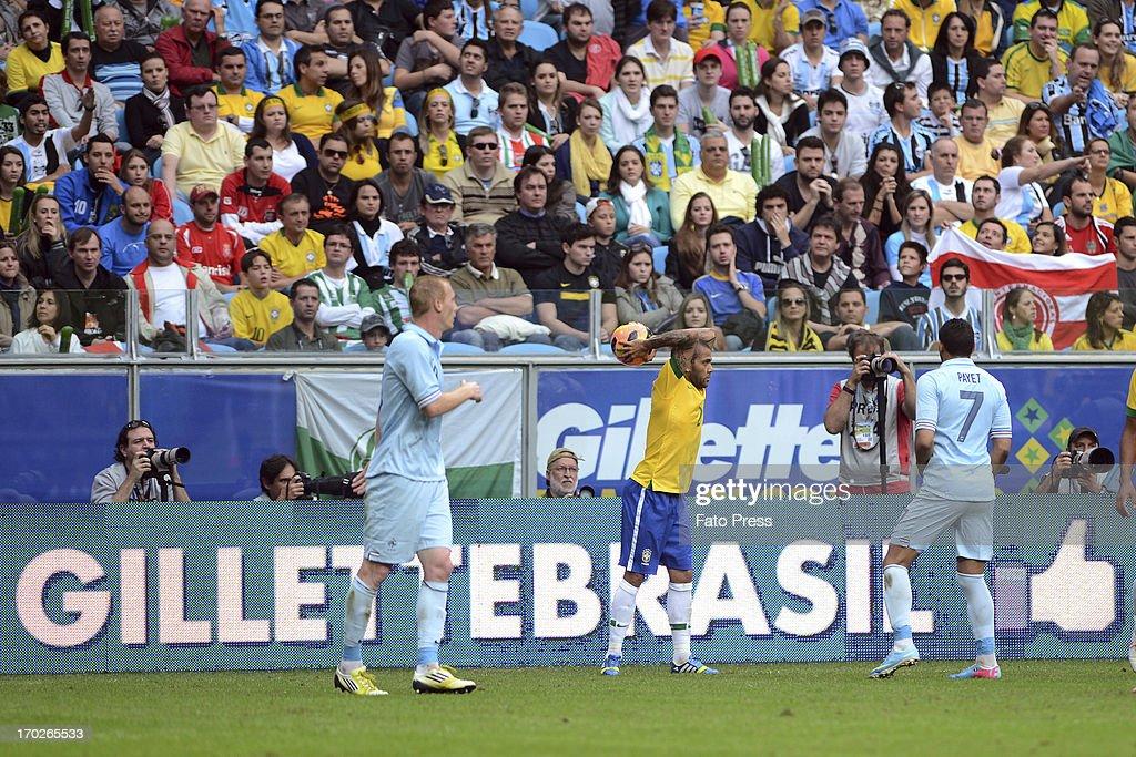 Daniel Alves of Brasil during the match between Brasil and France on June 09, 2013 in Porto Alegre, Brasil