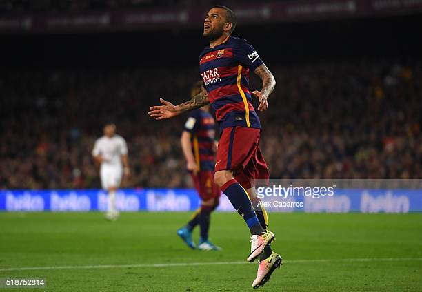 Daniel Alves of FC Barcelona reacts during the La Liga match between FC Barcelona and Real Madrid CF at Camp Nou on April 2 2016 in Barcelona Spain
