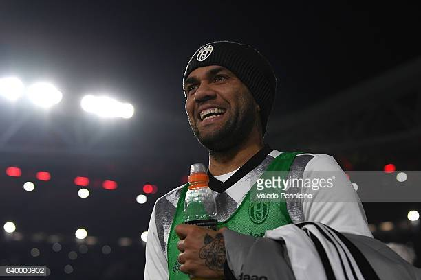 Daniel Alves of Juventus FC looks on during the TIM Cup match between Juventus FC and AC Milan at Juventus Stadium on January 25 2017 in Turin Italy