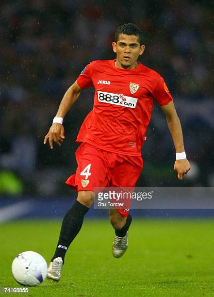 Daniel Alves of Sevilla in action during the UEFA Cup Final between Espanyol and Sevilla at Hampden Park on May 16 2007 in Glasgow Scotland