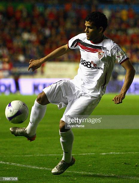Daniel Alves of Sevilla in action during the UEFA Cup Semi Final first leg match between Osasuna and Sevilla at the Estadio Reyno de Navarra on April...