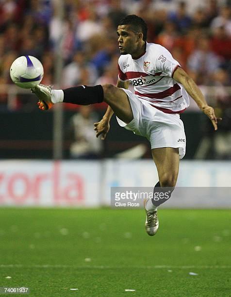 Daniel Alves of Sevilla in action during the UEFA Cup semi final secondleg match between Sevilla and Osasuna at the Sanchez Pizjuan stadium on May 5...