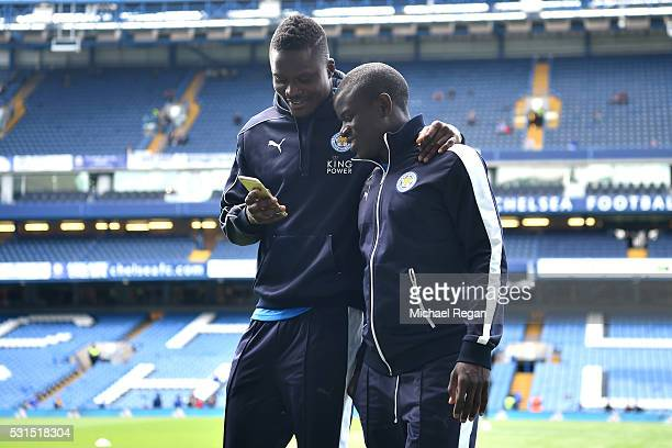 Daniel Amartey and Ngolo Kante of Leicester City are seen prior to the Barclays Premier League match between Chelsea and Leicester City at Stamford...