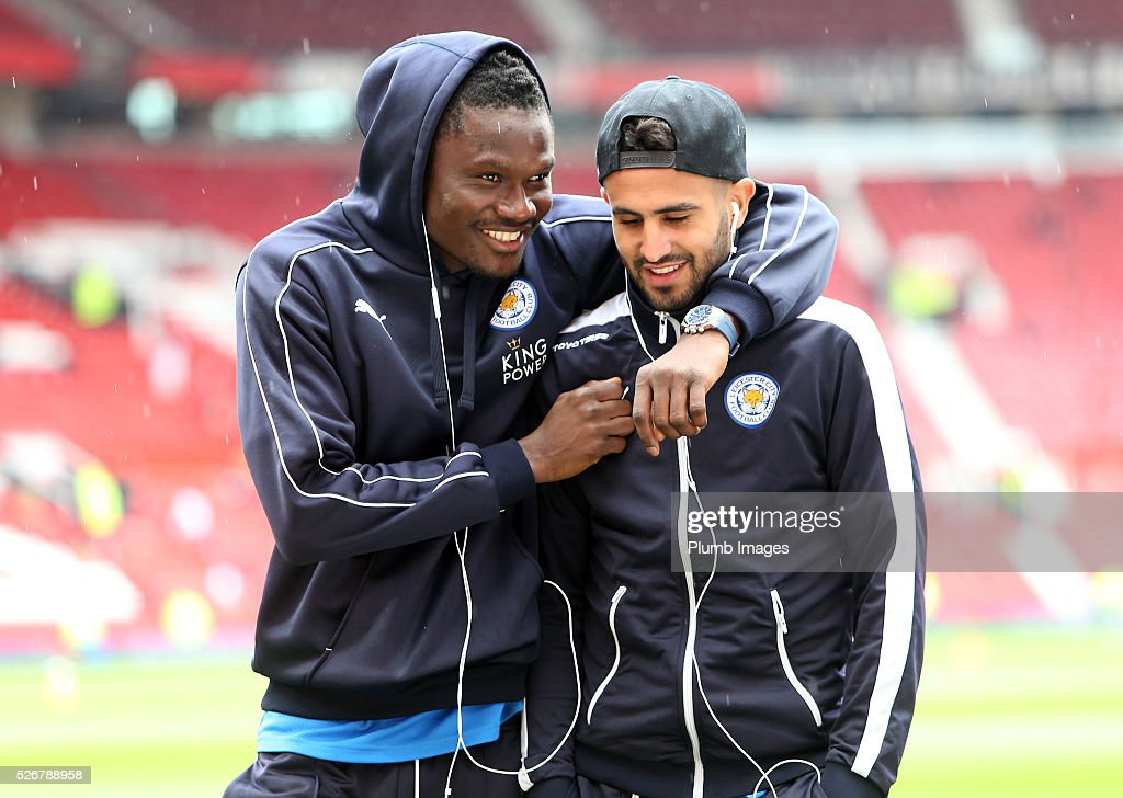 <a gi-track='captionPersonalityLinkClicked' href=/galleries/search?phrase=Daniel+Amartey&family=editorial&specificpeople=12946947 ng-click='$event.stopPropagation()'>Daniel Amartey</a> and <a gi-track='captionPersonalityLinkClicked' href=/galleries/search?phrase=Riyad+Mahrez&family=editorial&specificpeople=9166027 ng-click='$event.stopPropagation()'>Riyad Mahrez</a> of Leicester City at Old Trafford ahead of the Premier League match between Manchester United and Leicester City at Old Trafford on May 01, 2016 in Manchester, United Kingdom.