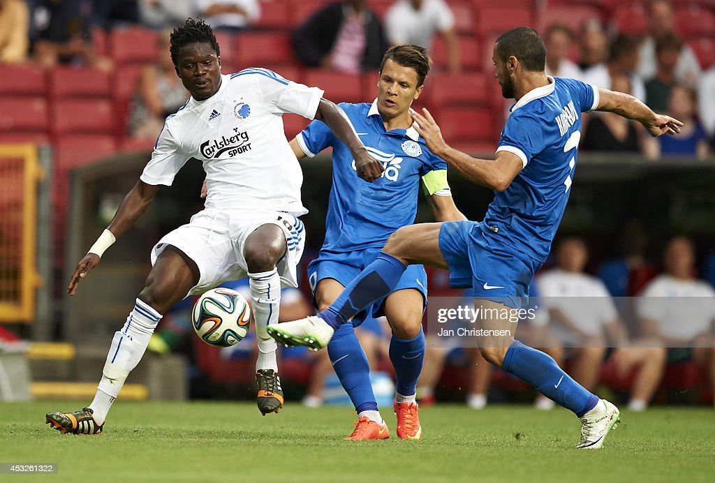 Daniel Amartey of FC Copenhagen compete for the ball during UEFA Champions League Third Qualifying Round: Second Leg between FC Copenhagen and Dnipro Dnipropetrovsk at Telia Parken Stadium on August 06, 2014 in Copenhagen, Denmark.