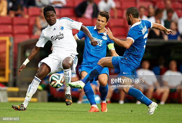 Daniel Amartey of FC Copenhagen compete for the ball during UEFA Champions League Third Qualifying Round Second Leg between FC Copenhagen and Dnipro...