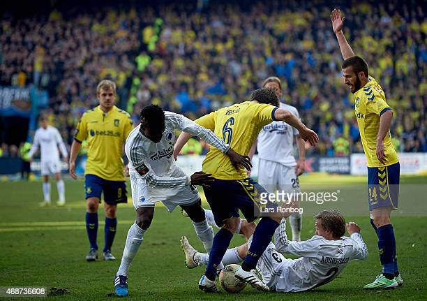 Daniel Amartey of FC Copenhagen Martin Ornskov of Brondby IF Ludvig Augustinsson of FC Copenhagen and Ferhan Hasani of Brondby IF compete for the...