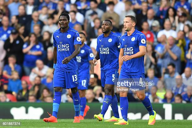 Daniel Amartey of Leicester City and Daniel Drinkwater of Leicester City show dejection after their team go 20 down during the Premier League match...