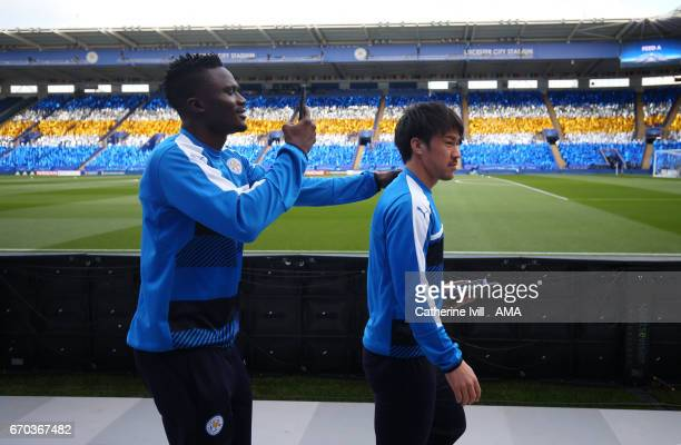 Daniel Amartey of Leicester City and Shinji Okazaki of Leicester City before the UEFA Champions League Quarter Final second leg match between...