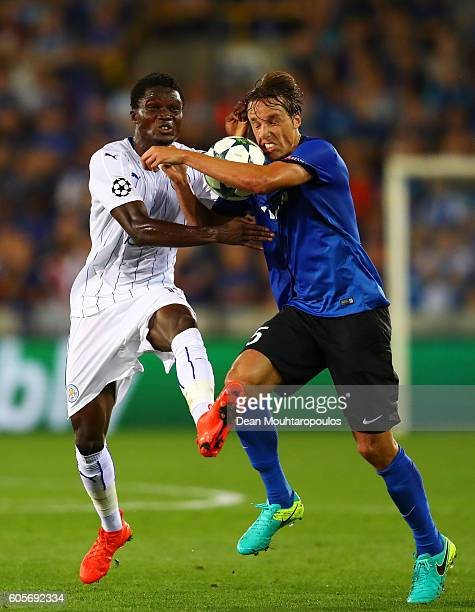 Daniel Amartey of Leicester City and Tomas Pina of Club Brugge in action during the UEFA Champions League match between Club Brugge KV and Leicester...