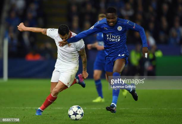Daniel Amartey of Leicester City and Vitolo of Sevilla battle for the ball during the UEFA Champions League Round of 16 second leg match between...