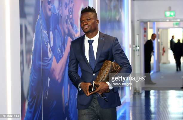 Daniel Amartey of Leicester City arrives at King Power Stadium ahead of the Premier League match between Leicester City and West Bromwich Albion at...