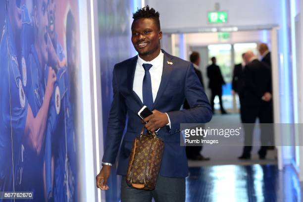Daniel Amartey of Leicester City arrives at King Power Stadium ahead of the Premier League match between Leicester City and Everton at King Power...