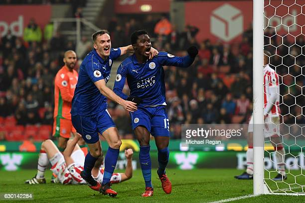Daniel Amartey of Leicester City celebrates scoring his sides second goal with Andy King of Leicester City during the Premier League match between...