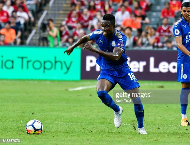 Daniel Amartey of Leicester City FC in action during the Premier League Asia Trophy match between Leicester City FC and West Bromwich Albion FC at...