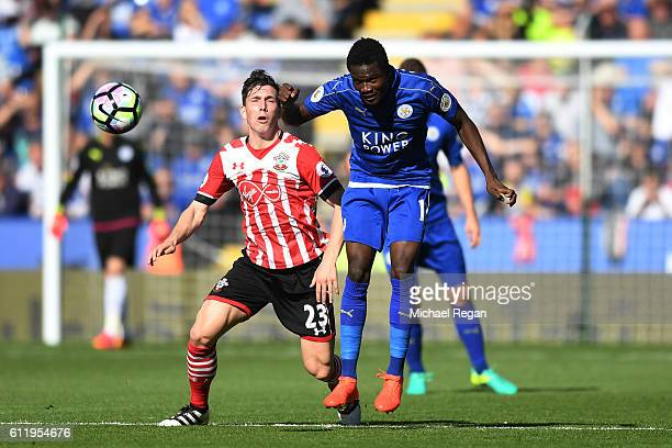 Daniel Amartey of Leicester City heads the ball during the Premier League match between Leicester City and Southampton at The King Power Stadium on...