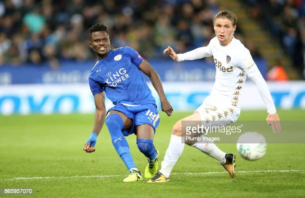 Daniel Amartey of Leicester City in action with Pawel Cibicki of Leeds United during the Carabao Cup fourth round match between Leicester City and...