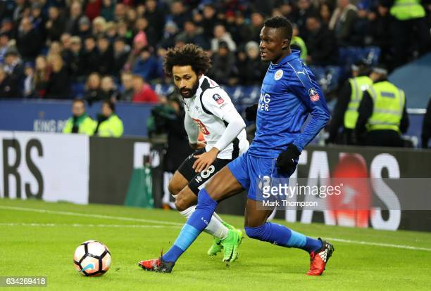 Daniel Amartey of Leicester City passes the ball under pressure from Ikechi Anya of Derby County during the Emirates FA Cup Fourth Round replay match...