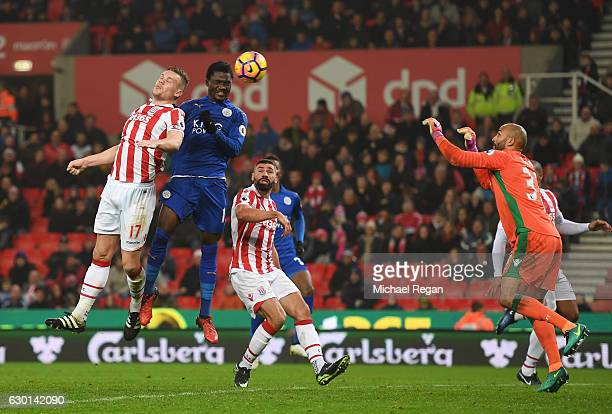 Daniel Amartey of Leicester City scores his sides second goal through a header during the Premier League match between Stoke City and Leicester City...