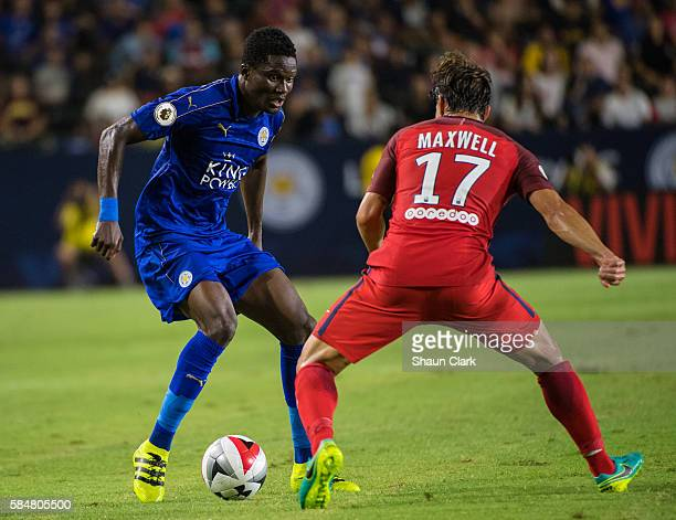 Daniel Amartey of Leicester City takes on Maxwell of Paris SaintGermain during the International Champions Cup 2016 match between Paris SaintGermain...